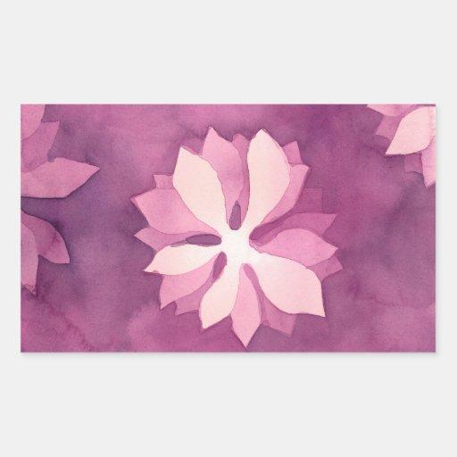 Acuarela floral rosada pegatina rectangular