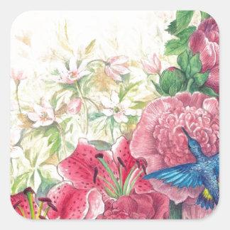 Acuarela floral y del colibrí exquisita, pegatina cuadrada