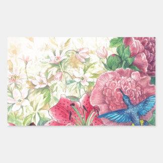 Acuarela floral y del colibrí exquisita, pegatina rectangular