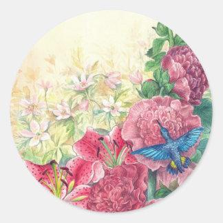 Acuarela floral y del colibrí exquisita, pegatina redonda