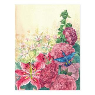 Acuarela floral y del colibrí exquisita, postales