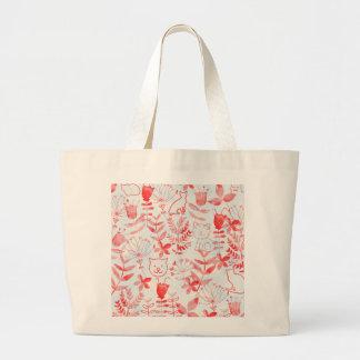 Acuarela floral y gatos bolsa de tela grande