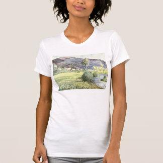 Acuarela francesa de la montaña camisetas