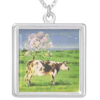 Acuarela francesa de la vaca del vintage colgante cuadrado