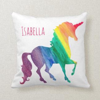 Acuarela fresca personalizada del unicornio del cojín decorativo