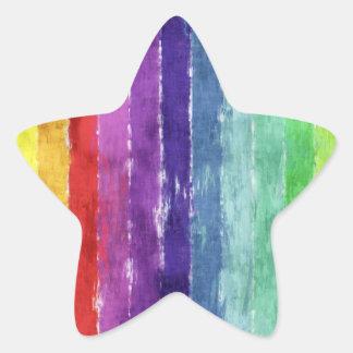 Acuarela geométrica de las rayas pegatina en forma de estrella