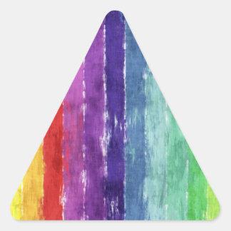 Acuarela geométrica de las rayas pegatina triangular