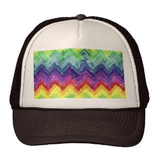 Acuarela geométrica del zigzag gorras de camionero