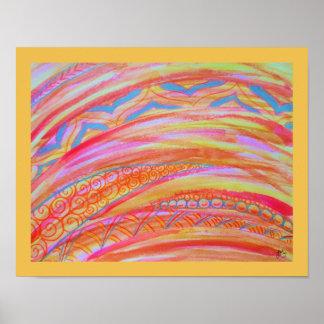Acuarela gráfica abstracta y lápiz coloreado póster