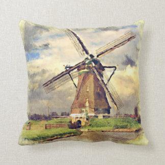 Acuarela holandesa del molino de viento del cojín decorativo