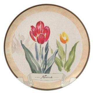 Acuarela japonesa del vintage de los tulipanes de  platos de comidas