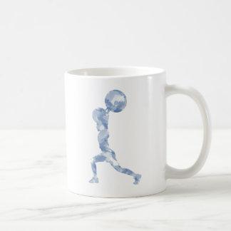 Acuarela limpia y tirón en azul taza de café