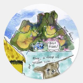 Acuarela linda del dibujo animado de Bora Bora Pegatina Redonda