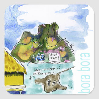 Acuarela linda del dibujo animado de Bora Bora Pegatina Cuadrada