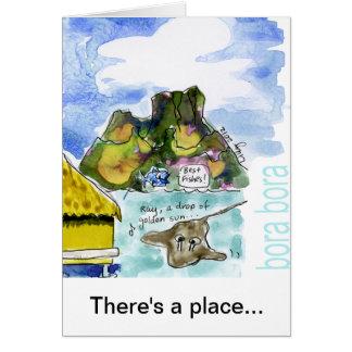 Acuarela linda del dibujo animado de Bora Bora Tarjeta De Felicitación