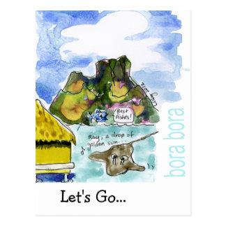 Acuarela linda del dibujo animado de Bora Bora Tarjetas Postales