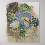 Acuarela-Medio de mimbre azul Poster