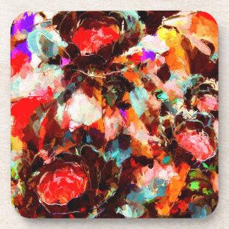 Acuarela multicolora vibrante floral posavasos