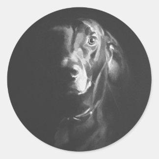 Acuarela negra del perro del laboratorio de Paul Pegatina Redonda