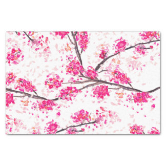 Acuarela oriental de Sakura de las flores de Papel De Seda