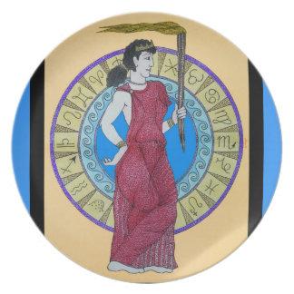 Acuarela original w/Blue del ~ de Greeking Platos Para Fiestas