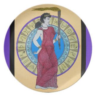 Acuarela original w/Purple del ~ de Greeking Plato De Comida