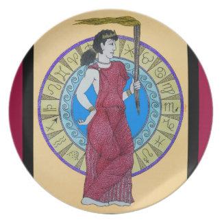 Acuarela original w/Red del ~ de Greeking Plato Para Fiesta
