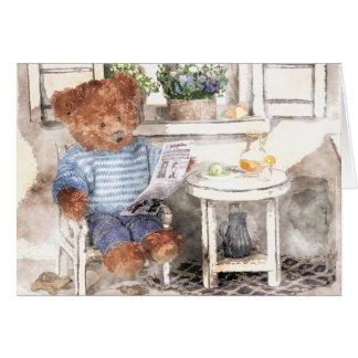 Acuarela pequeña de los osos - oso de la lectura felicitación