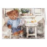 Acuarela pequeña de los osos - oso de la lectura tarjeta de felicitación