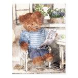 Acuarela pequeña de los osos - oso de la lectura tarjeta postal