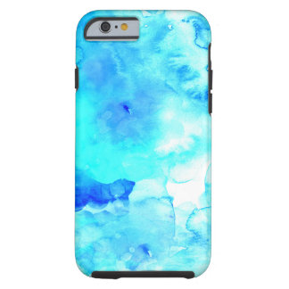 Acuarela pintada a mano del mar azul moderno del funda resistente iPhone 6