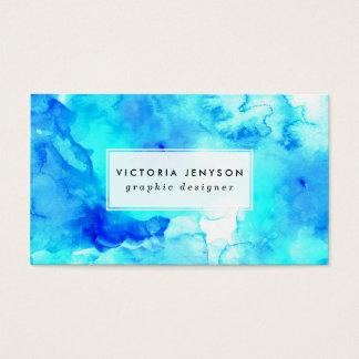 Acuarela pintada a mano del mar azul moderno tarjetas de visita