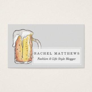 Acuarela pintada fría de la taza de cerveza de tarjetas de visita