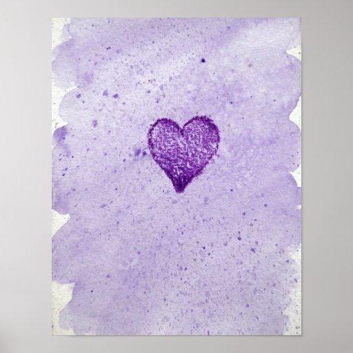 Acuarela Purple Heart Posters