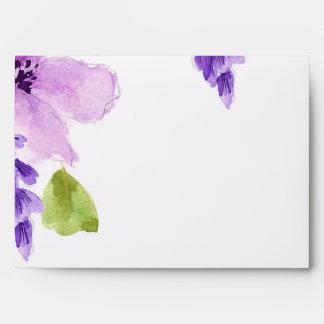 Acuarela púrpura bonita floral sobre