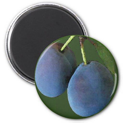Acuarela púrpura de los ciruelos - imán