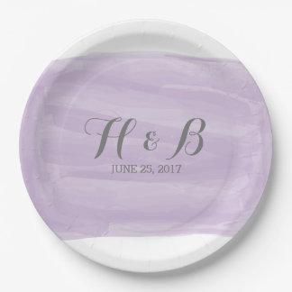 Acuarela púrpura que casa las placas de papel platos de papel