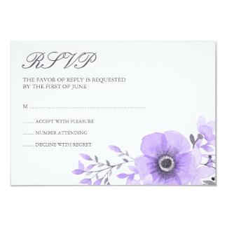 """Acuarela púrpura y gris RSVP que se casa floral Invitación 3.5"""" X 5"""""""