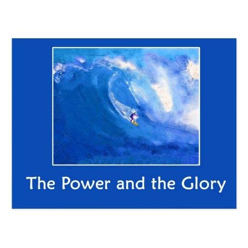 Acuarela que practica surf tarjetas postales