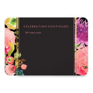 """Acuarela/ranúnculo florales de la recepción de invitación 3.5"""" x 5"""""""