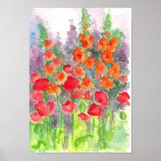 Acuarela roja anaranjada de la flor de la amapola  póster