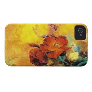 Acuarela roja china oriental fresca de la flor de Case-Mate iPhone 4 funda