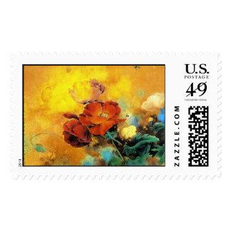 Acuarela roja china oriental fresca de la flor de