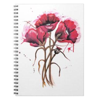 Acuarela roja de la amapola cuaderno