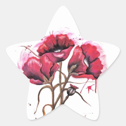Acuarela roja de la amapola pegatina en forma de estrella