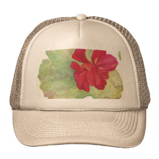 acuarela roja de la flor gorro de camionero
