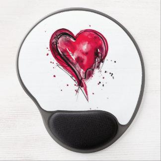 Acuarela roja del corazón alfombrillas de raton con gel
