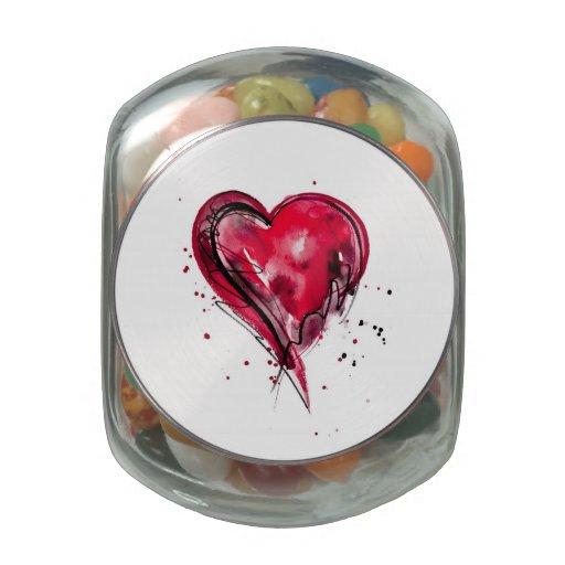 Acuarela roja del corazón frascos de cristal jelly belly