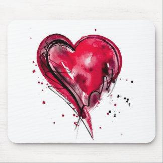 Acuarela roja del corazón tapetes de ratones