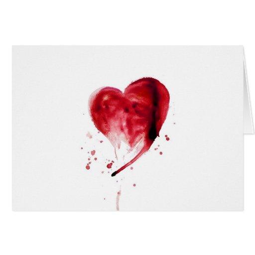 Acuarela roja del corazón tarjeta